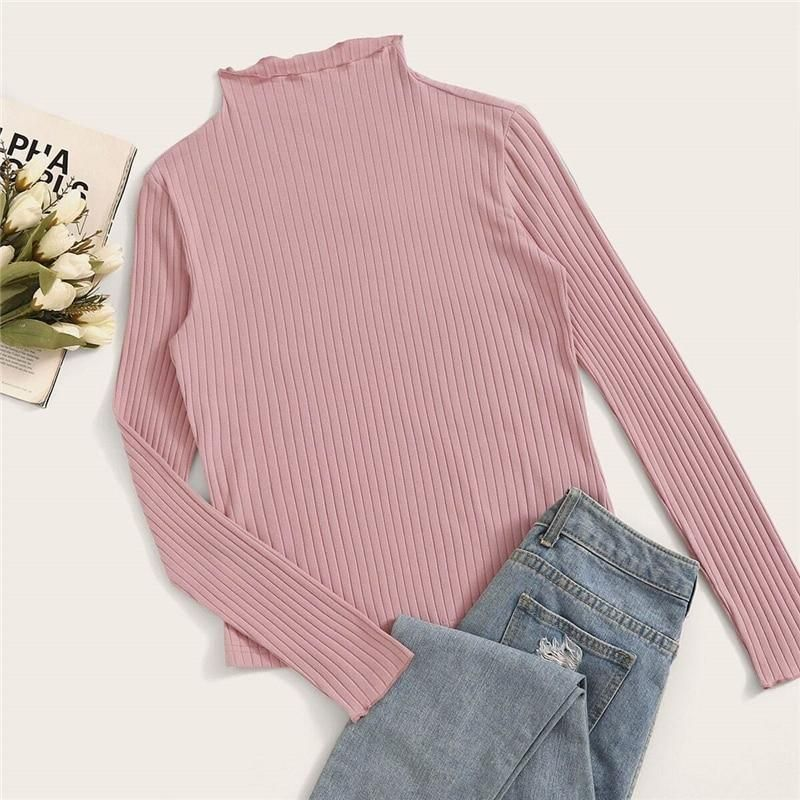 Autumn Women Knit Sweater Basic T Shirt V Neck Fitted Stretch Casual Top Blouse