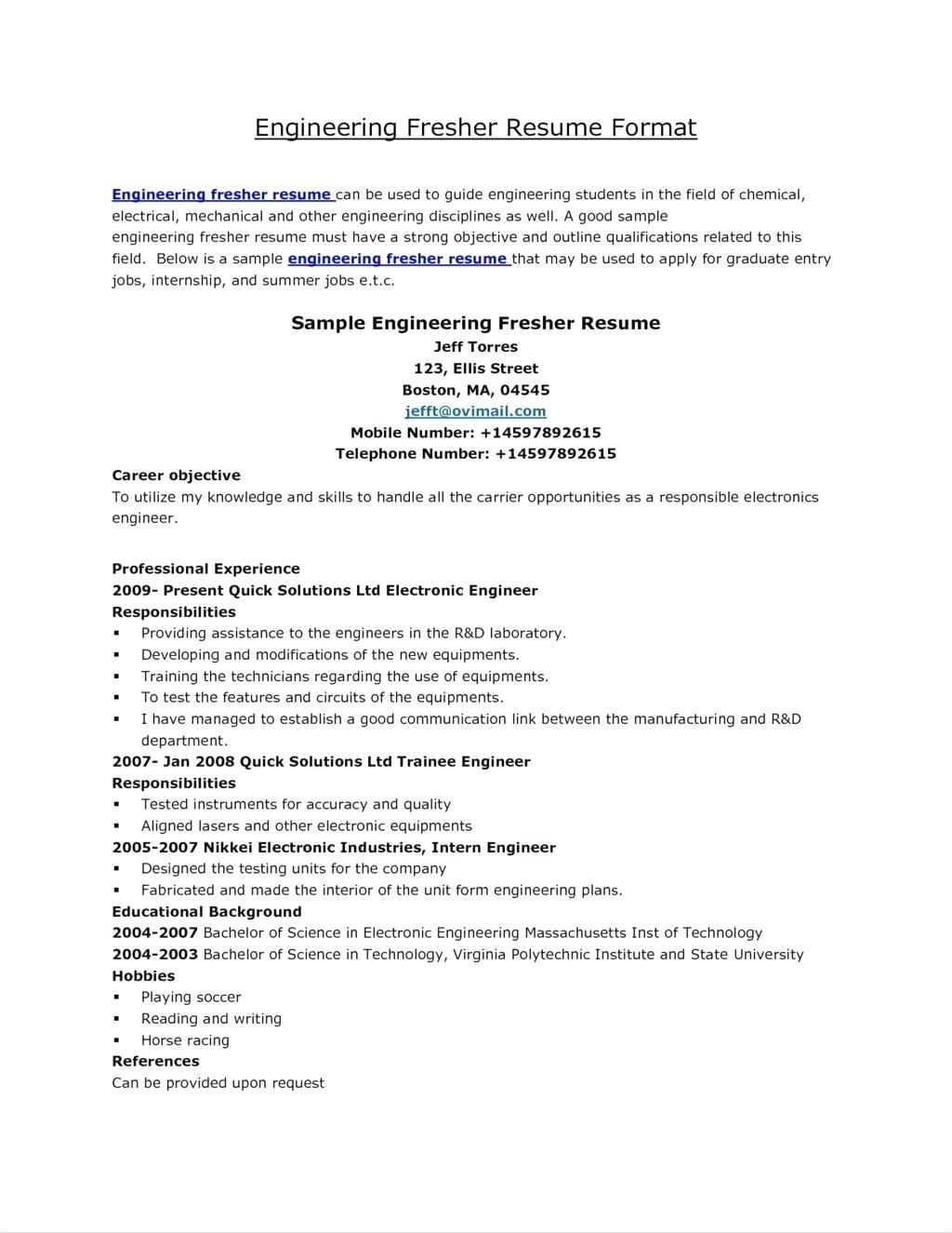 Free Electrical Engineer Fresher Resume Template Engineering Resume Templates Resume Design Free Job Resume Template