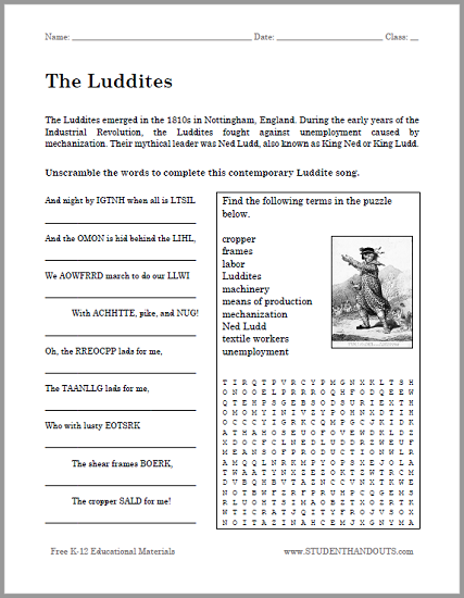 The Luddites Bellwork Handout World History Industrial