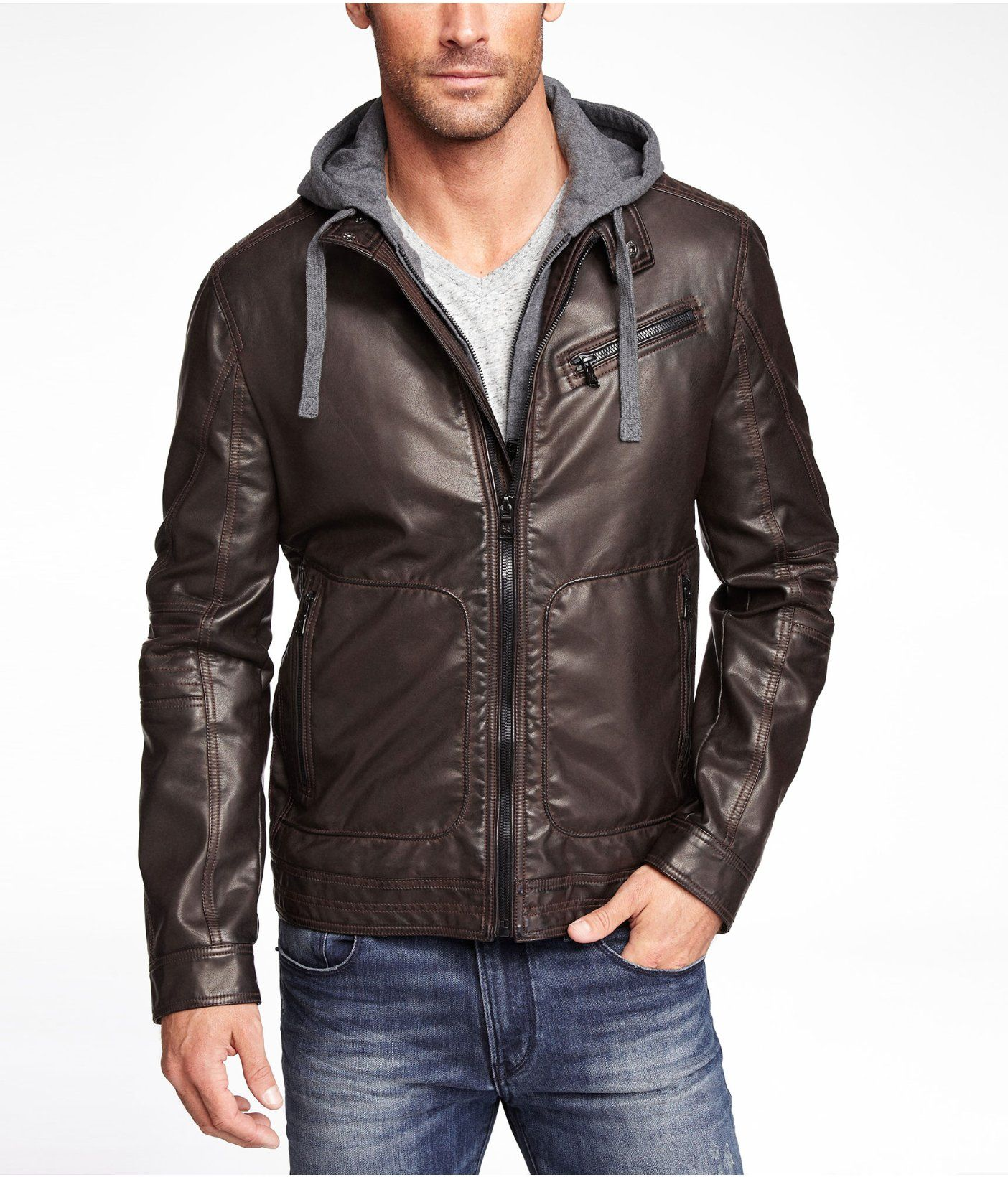Minus The Leather Hooded System Jacket Express Leather Jacket Men Leather Jacket Mens Jackets [ 1640 x 1404 Pixel ]