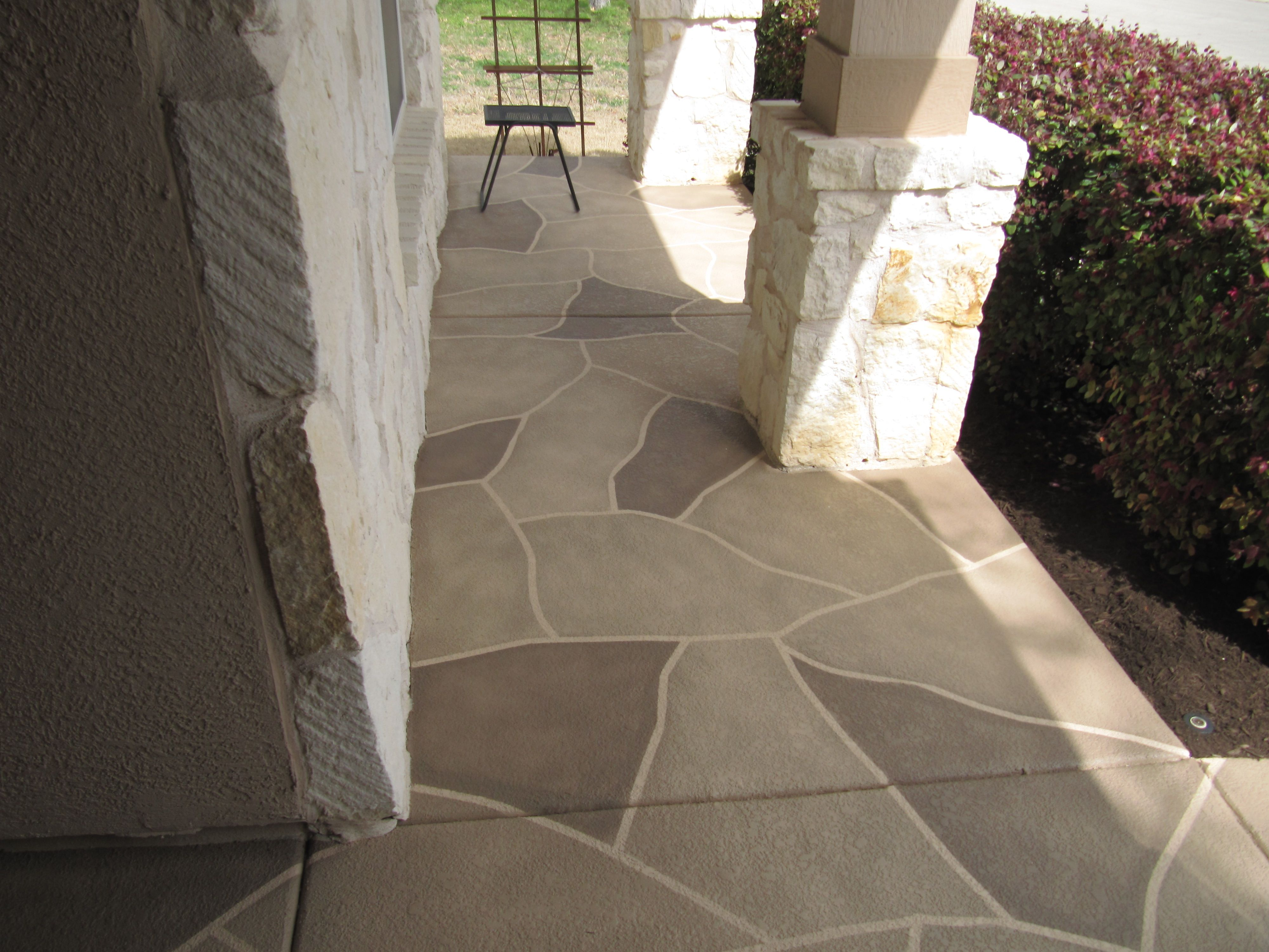Painted Patio Stone Pattern Lasts A Lifetime And Is Stain Resistant Modern Concrete Creations So Pre Painted Patio Paint Concrete Patio Painting Concrete