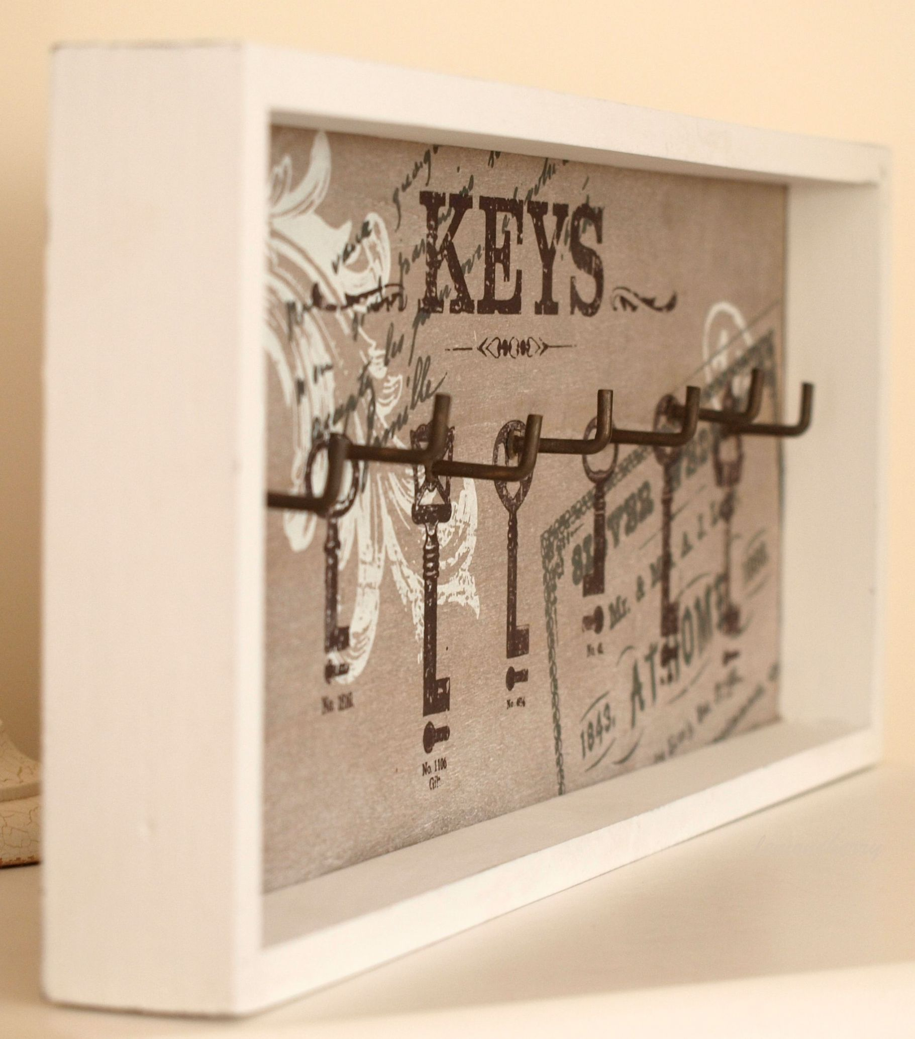 Picture frame key holder for wall key hook chic shabby fun style wall plaque wall sign frame - Porte shabby chic ...