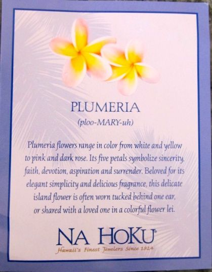 This Card Came With My Plumeria Necklace From Na Hoku The Fellas Bought For Me In Maui On My 40th Birth Hawaiian Flower Tattoos Hawaiian Tattoo Plumeria Tattoo