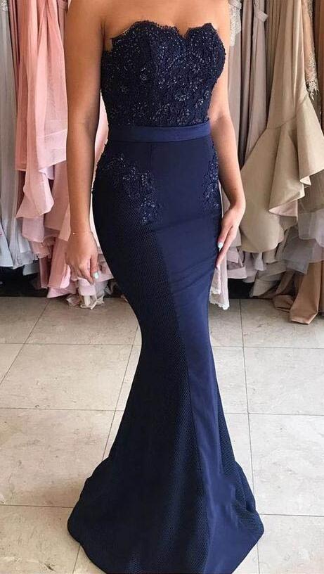 Navy Blue Mermaid Prom Dress c0a24ff276bc