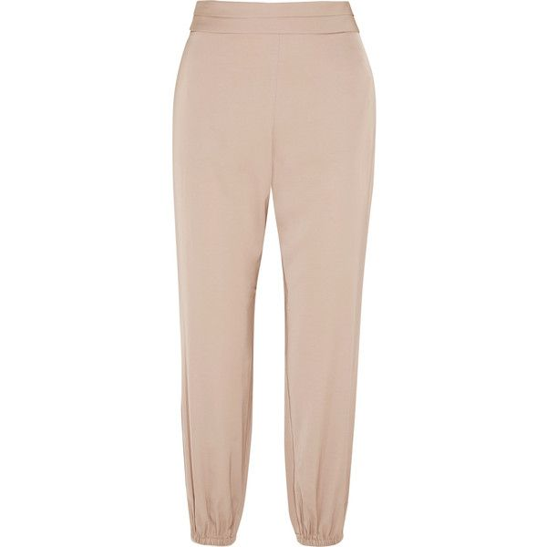 Elizabeth and James Pascal satin tapered pants (1.525 RON) ❤ liked on Polyvore featuring pants, elastic ankle pants, pink satin pants, satin pants, pink pants and tapered trousers