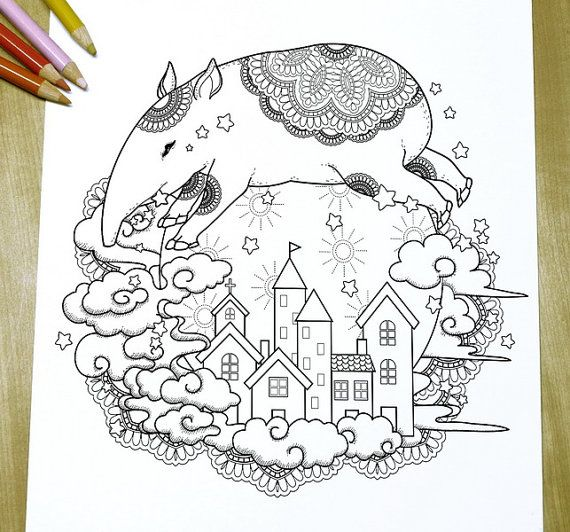 Adorable Tapir Adult Coloring Page Print Coloring Pages Adult