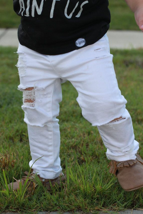 White Ripped Skinnies // Baby Jeans // Distressed White Skinny ...