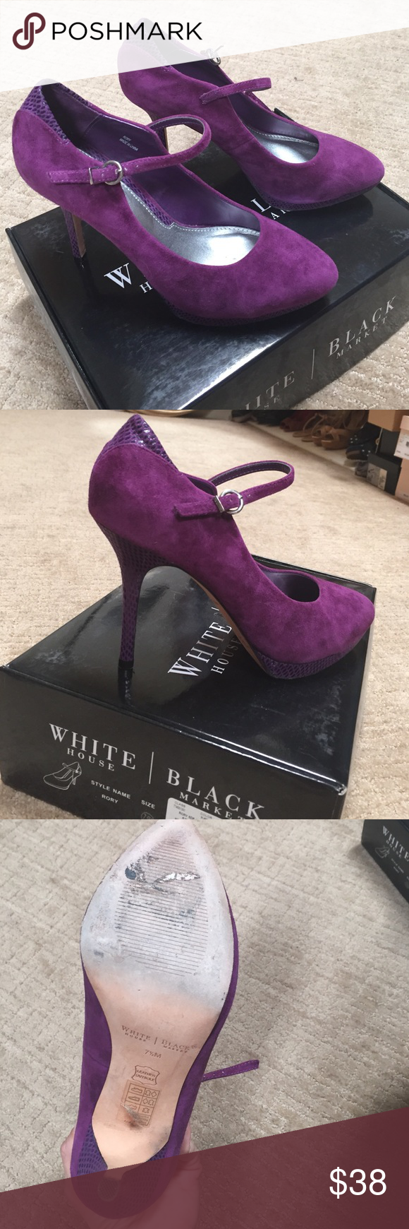 "WHBM shoes Merlot suede Mary Janes. 3 1/2@ with 1/2"" platform. Like new!! In box with dust days. White House Black Market Shoes Heels"