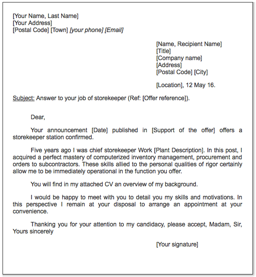 example of resume for storekeeper