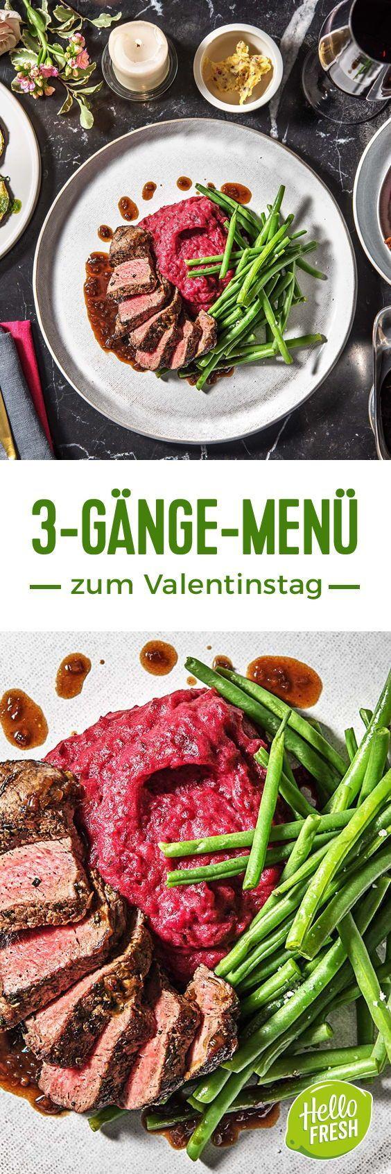 3-course Valentine's Day menu with carpaccio, steak with pink mash and chocolate mousse  - Festlicher Tisch   Dekoration & Anrichtung -