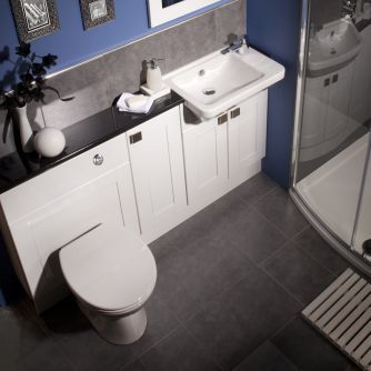 Balterley White Gloss Shaker Compact Fitted Bathroom Furniture