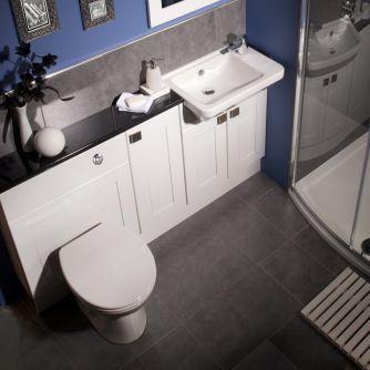 Balterley White Gloss Shaker Compact Fitted Bathroom Furniture Classic Bathroom Furniture Tiny Bathrooms Diy Bathroom Design