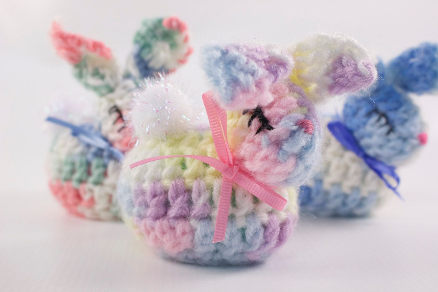 Crocheted Bunny Easter Egg set of 3 by sissyandbubba on Etsy https://www.etsy.com/listing/224688717/crocheted-bunny-easter-egg-set-of-3