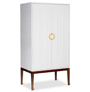 Harrison Hollywood Regency White Lacquer Brass Cabinet Wardrobe In
