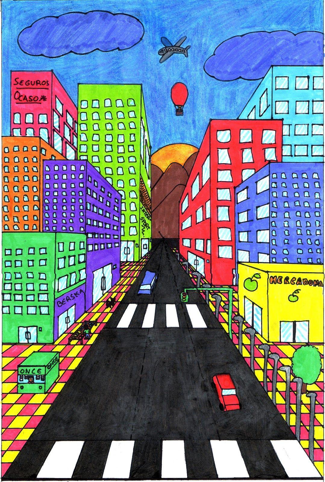 Como Dibujar Una Calle En Perspectiva Conica Buscar Con Google Arte En Perspectiva Dibujo Perspectiva Clases De Arte Para Ninos
