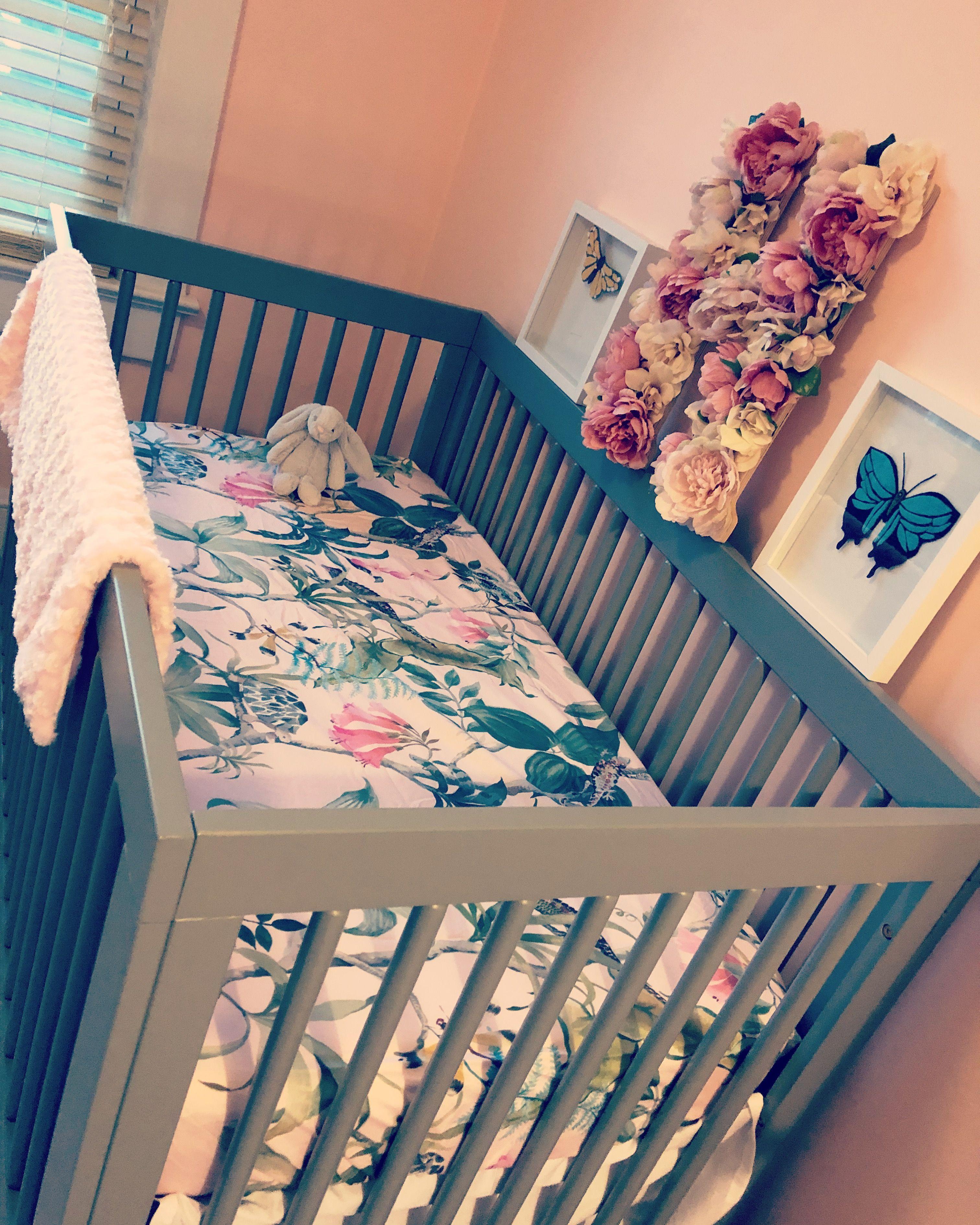 Handcrafted felt butterflies, pottery barn crib sheet