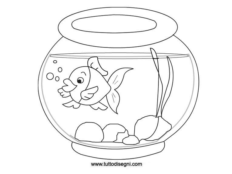 Pesce nella vaschetta da colorare for Pesciolino da colorare