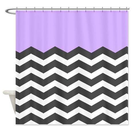 Lilac Purple Black White Chevron Shower Curtain