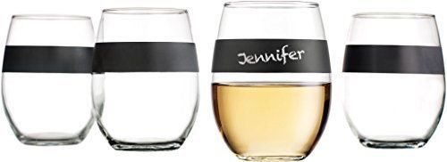 Set-of-4-Stemless-Wine-Glasses-21oz-with-Chalkboard-Band-Unique-Personalized