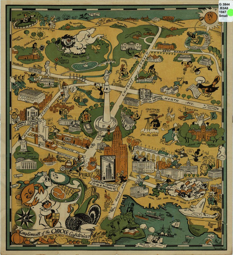 Oriole Map of Baltimore in 1947 in 2020 Baltimore map