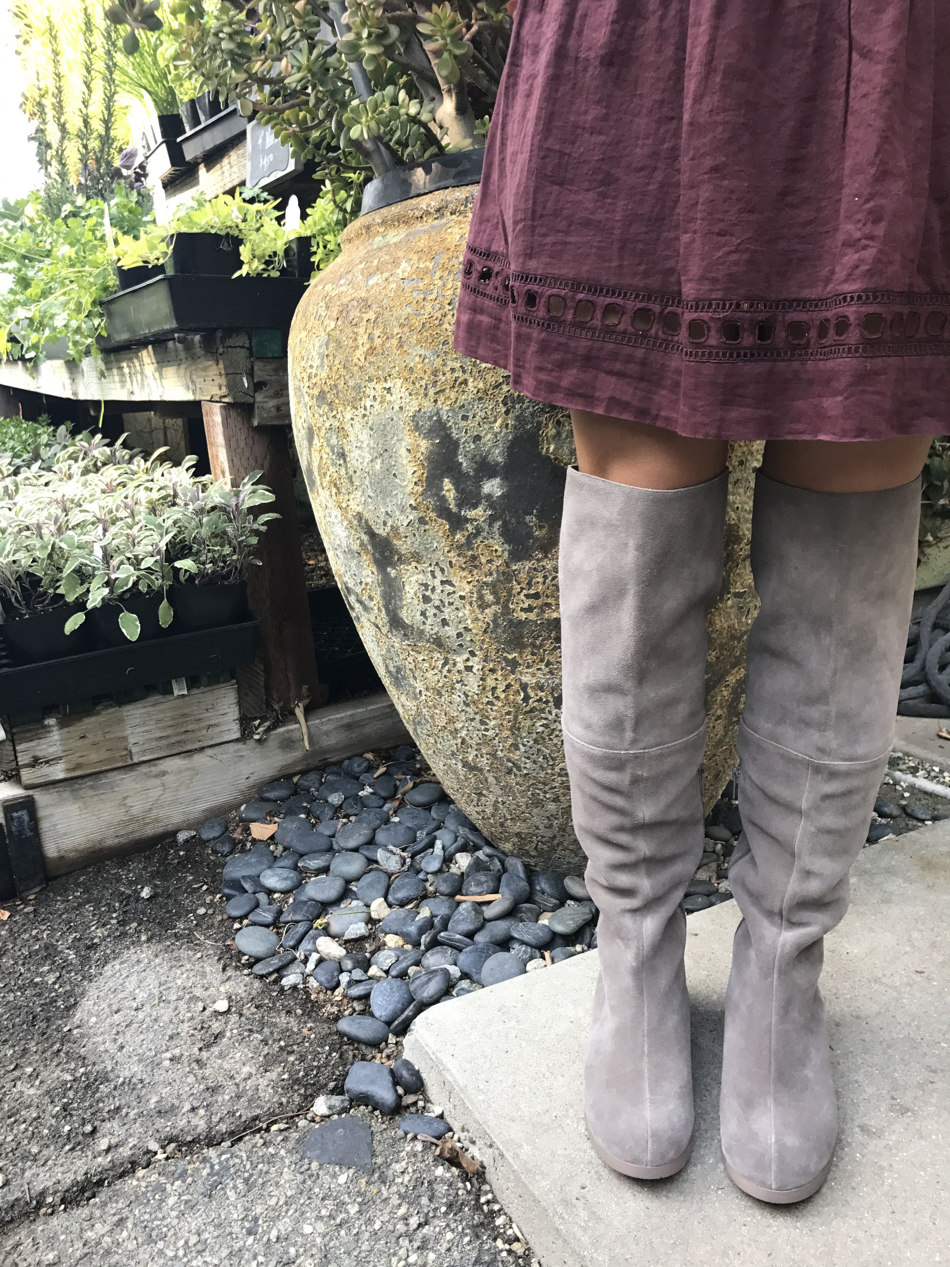 OTK tall grey flat suede boot   Suede