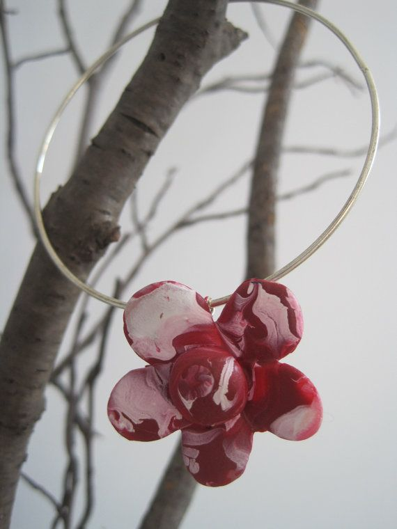 Red and White hand painted sculpted clay flower by sweetstellas, $30.00