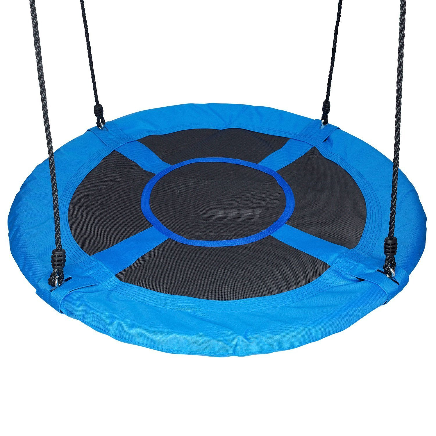 Saucer Safety Rating Over 600 Pounds Great for Playground Tree Heavy Duty Adjustable 6Ft PE Hanging Ropes Includes Durable Hanging Kit. Outdoor Use 40 Inch Net Spider Web Round Swing
