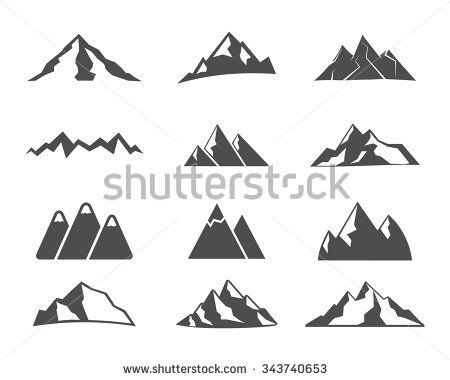 Set of mountain silhouette elements. Outdoor icon. Hand