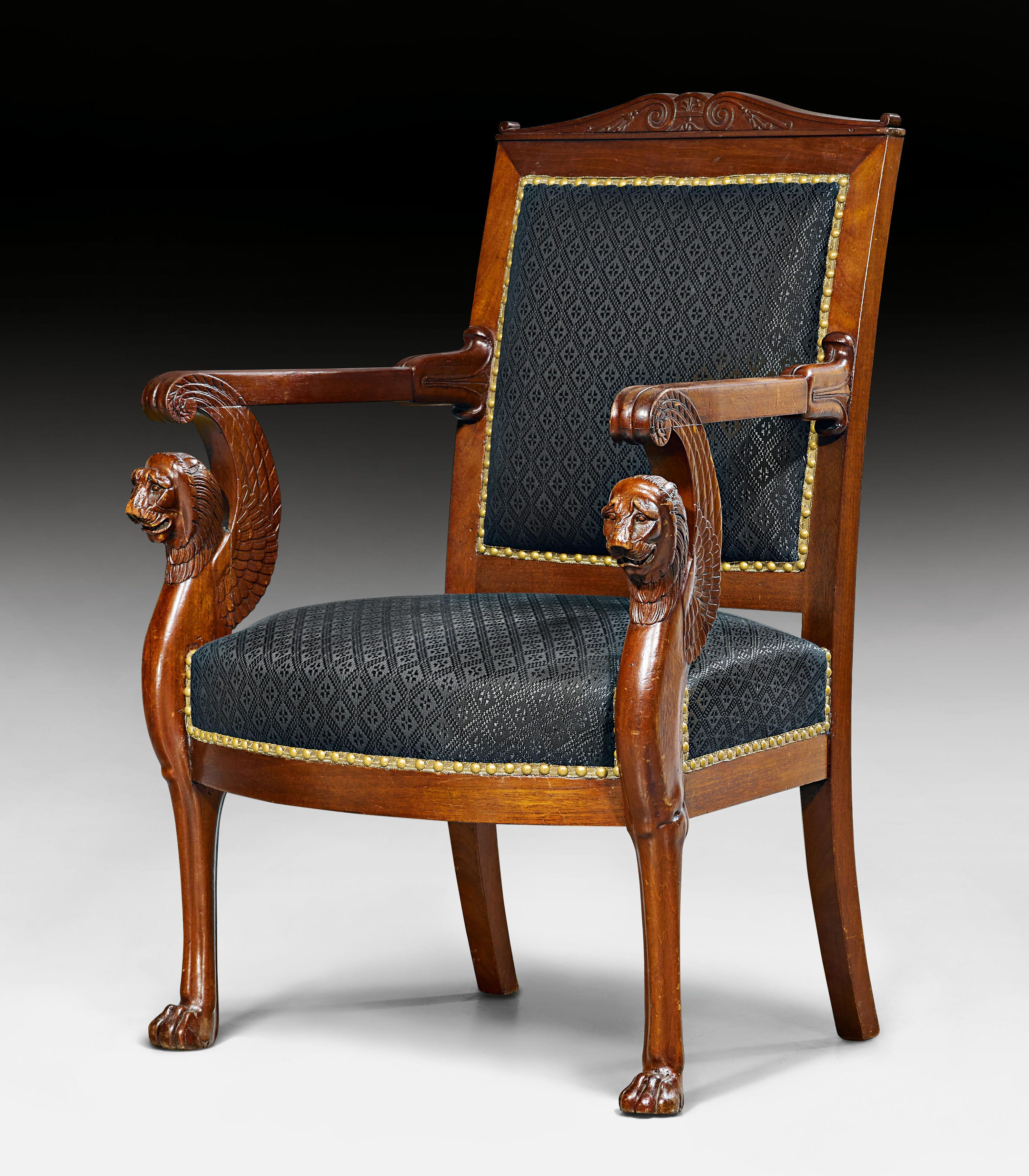 C1805 Fauteuil Aux Lions Ailees French Directory Empire By G Jacob Georges Jacob Maitre 1 Antique Chairs Small Chair For Bedroom Neoclassical Furniture