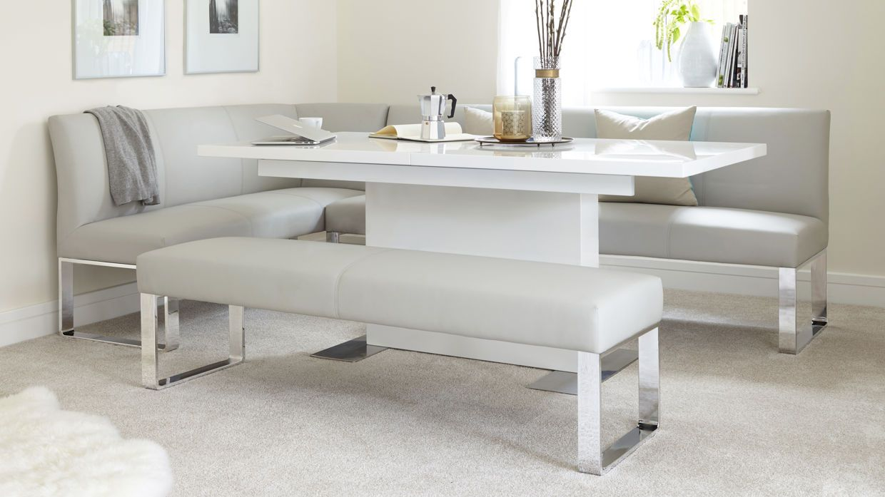 Sanza White Gloss And Loop 7 Seater Right Hand Corner Bench Dining