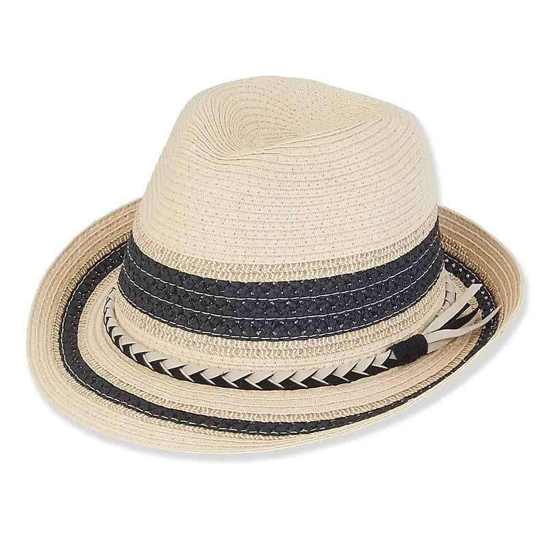 dae48ec4 Striped Crown Fedora with Braided Suede Band - Sun 'n' Sand® — SetarTrading