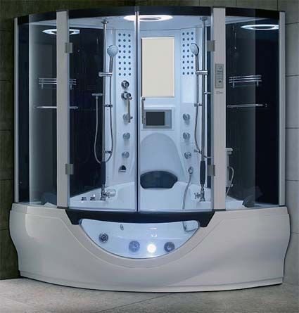 Brand New Modern White Jetted Tub And Steam Shower Room 64 1 X