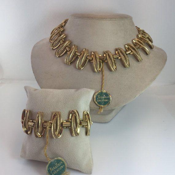 Necklace Bracelet Set Forstner Creations Gold filed Vintage