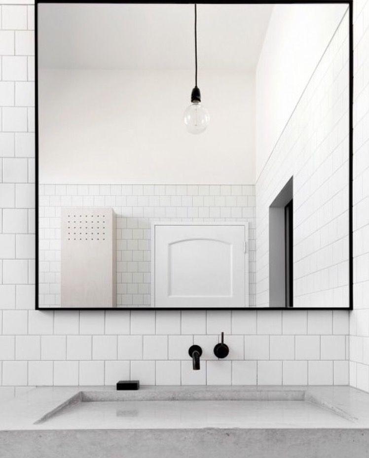 Minimalist Bathroom Images: Slim Line Black Wall Mirror …