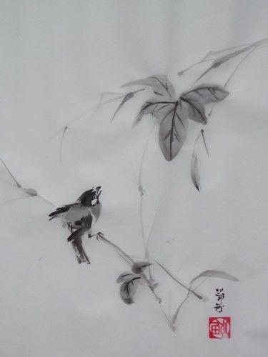 Aquarelle Sumie Sumi E Encre Peinture Cinoise Peinture Japonaise
