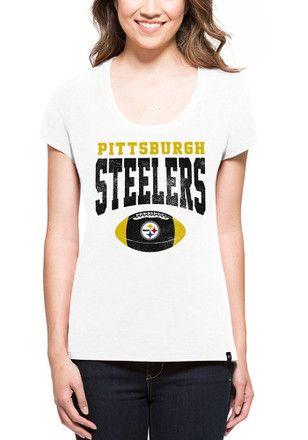 79edac29 47 Pittsburgh Steelers Womens Knockaround Splitter White Scoop T ...