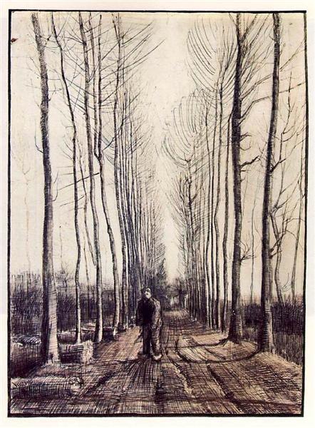 Poplar Trees, 1884 by Vincent van Gogh. Realism. landscape. Rijksmuseum, Amsterdam, Netherlands