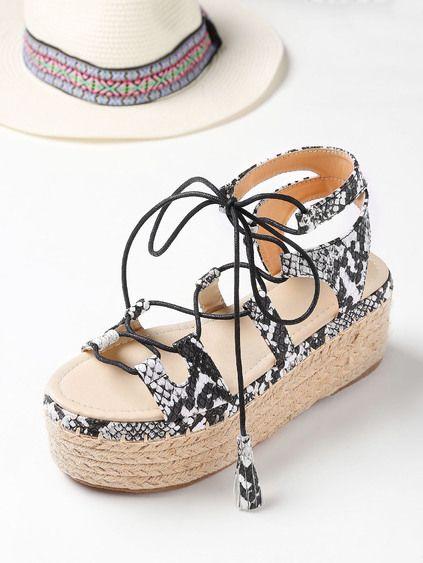 f75c1070e9e Snake Print Lace Up Espadrille Flatform Sandals
