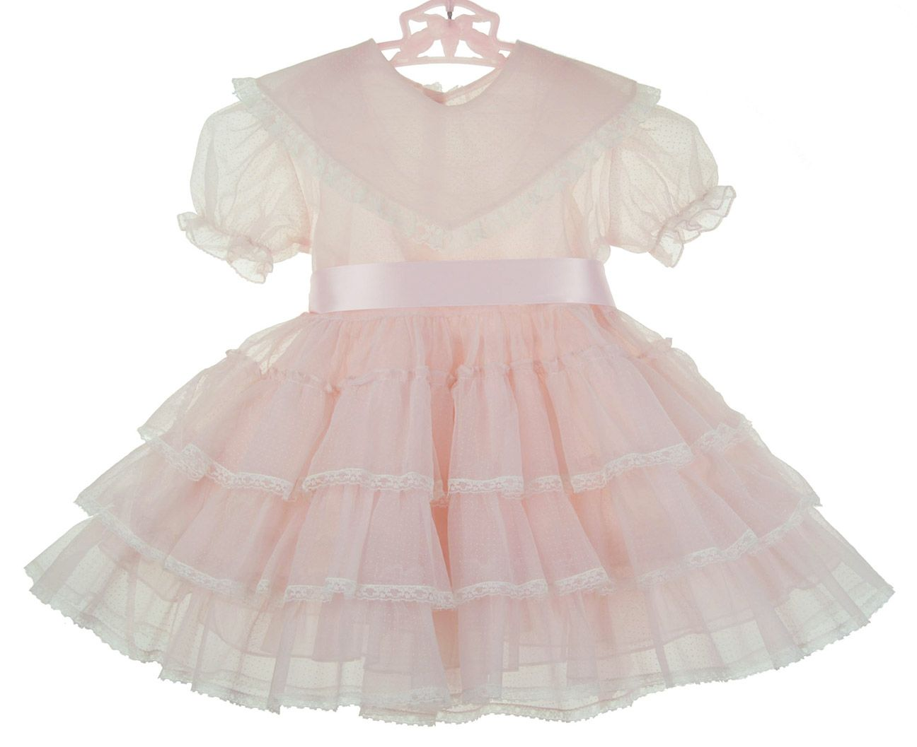 Retro 1950s Pink Dotted Swiss Ruffled Party Dress with Matching Pink Crinoline Slip $85.00