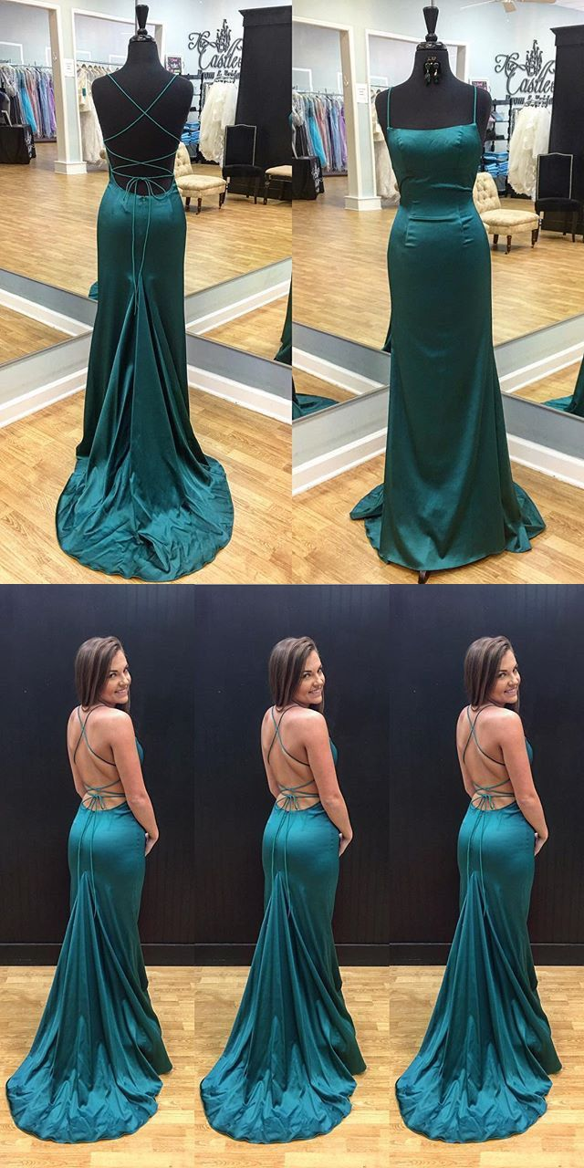 Sexy straps mermaid long dark teal prom dress evening dress from