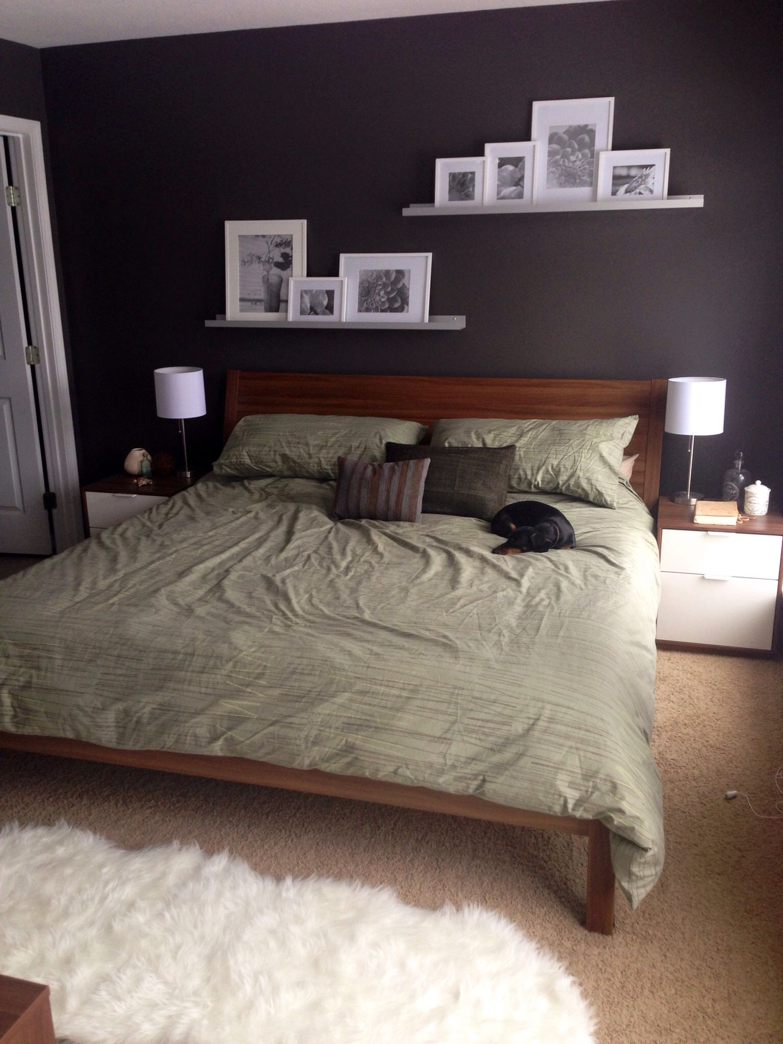 calvin klein bedding ikea nyvoll with gray walls wall shelves