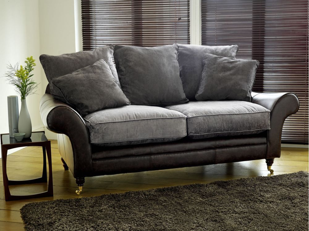 Nice Leather And Velvet Sofa