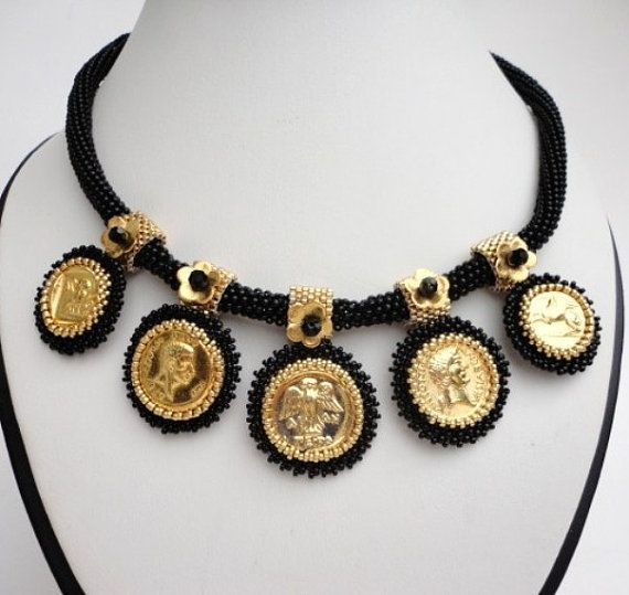 ancient replica gold coin statement by veroniquesjewelry on Etsy