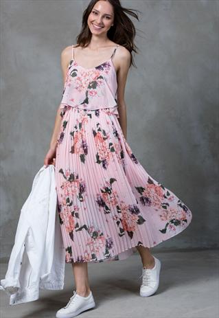 8ba7a2a947 FLORAL PRINT PLEATED CAMI MIDI DRESS-URBAN TOUCH | Abaya Dress ...