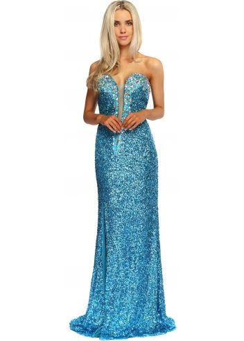 Corset And Dresses Turquoise Sequinned Crystal Bustier Mitzy ...