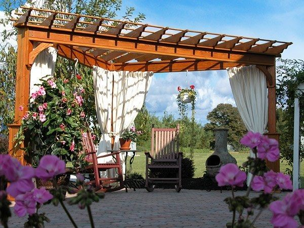 make your backyard look awesome with adding corner pergolas ... - Patio Home Designs