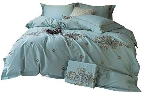 Photo of BJGCWY European Model Room 60 Double-Strand Long-Staple Cotton Four-Piece Set He…