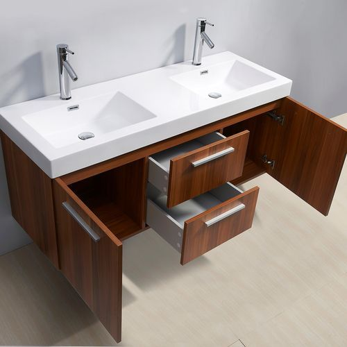 Virtu Usa Midori 54 Inch Double Sink Plum Bathroom Vanity