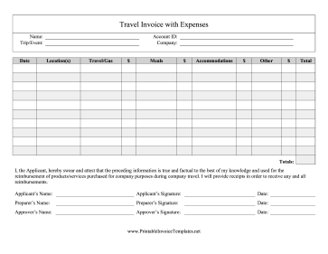 People Who Go On Business Trips Can Use This Travel Invoice To Get