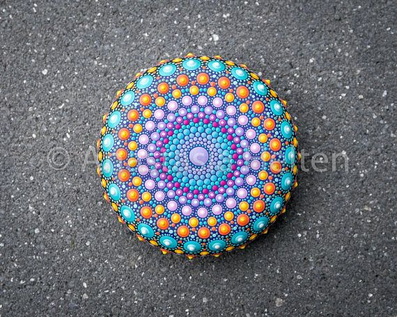 Mandala stone, hand painted Dot painting, Mandala and Mandalas